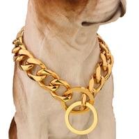 Top qualität 19mm 12 ~ 34 zoll Gold Silber Ton Doppel Curb kubanischen Pet Link Edelstahl Hund Kette Kragen Großhandel Pet halsketten