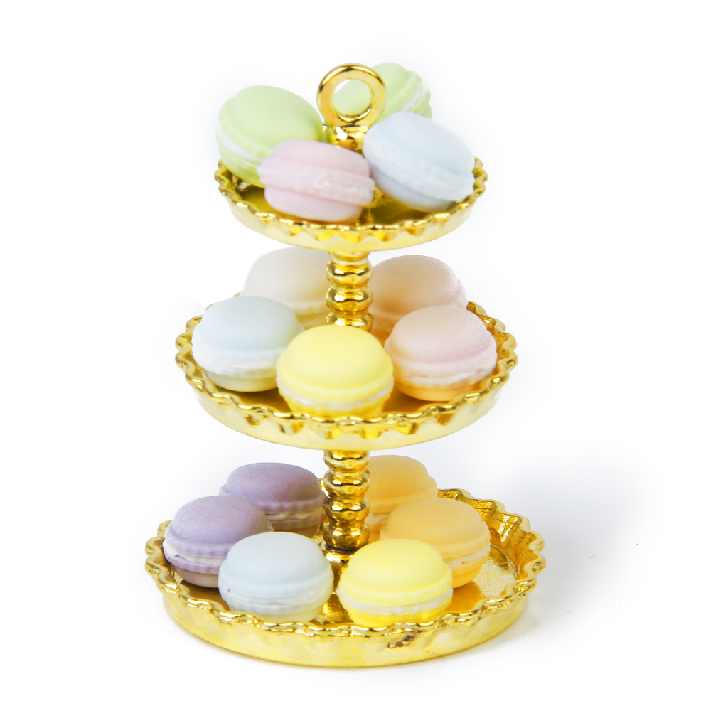1/12 Scale 15 Pcs Dollhouse Miniature Kitchen Food Dessert Tea Time Snack French Macaroon