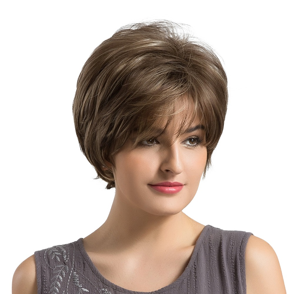 Synthetic Wigs Synthetic Blend Wigs Inhair Cube Short Synthetic Wigs For Women Natural Straight Fluffy Multi-layered Short Hair Wig With Bangs European Style