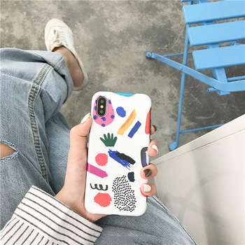 Colorful Lovely Graffiti Cartoon TPU Soft Case For iPhone