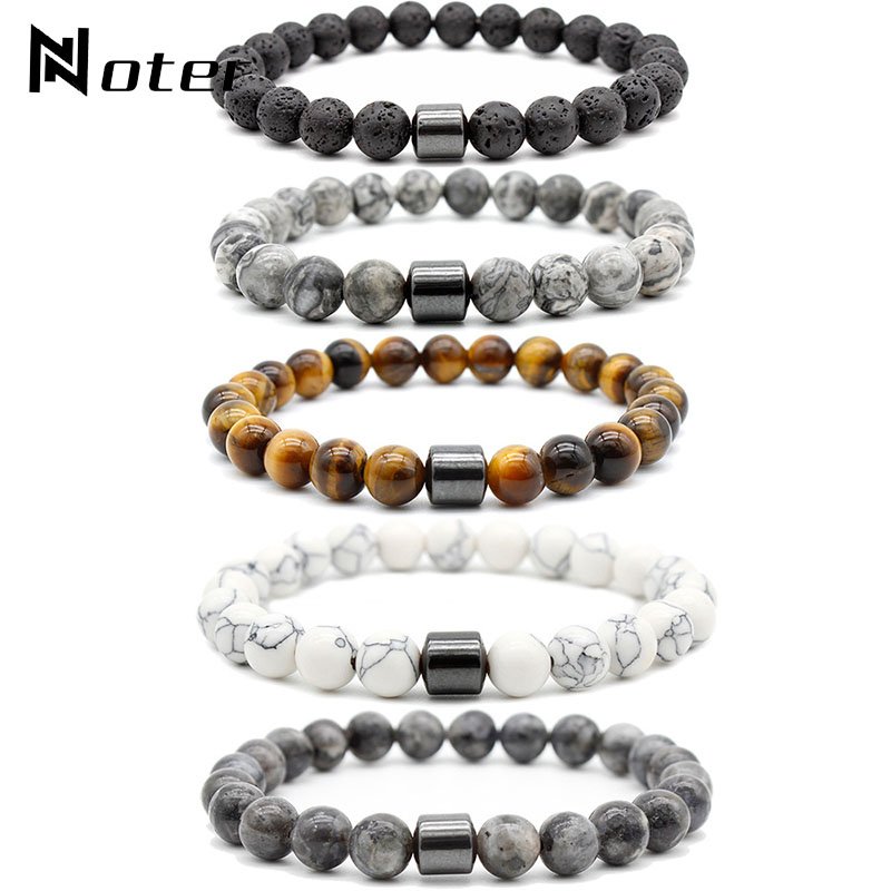 Noter Natural Stone Bracelets Male Minimalist Map Lava Tiger eye Brazalete For Hombre Buddha Braslet 8mm Hematite Strand Braclet
