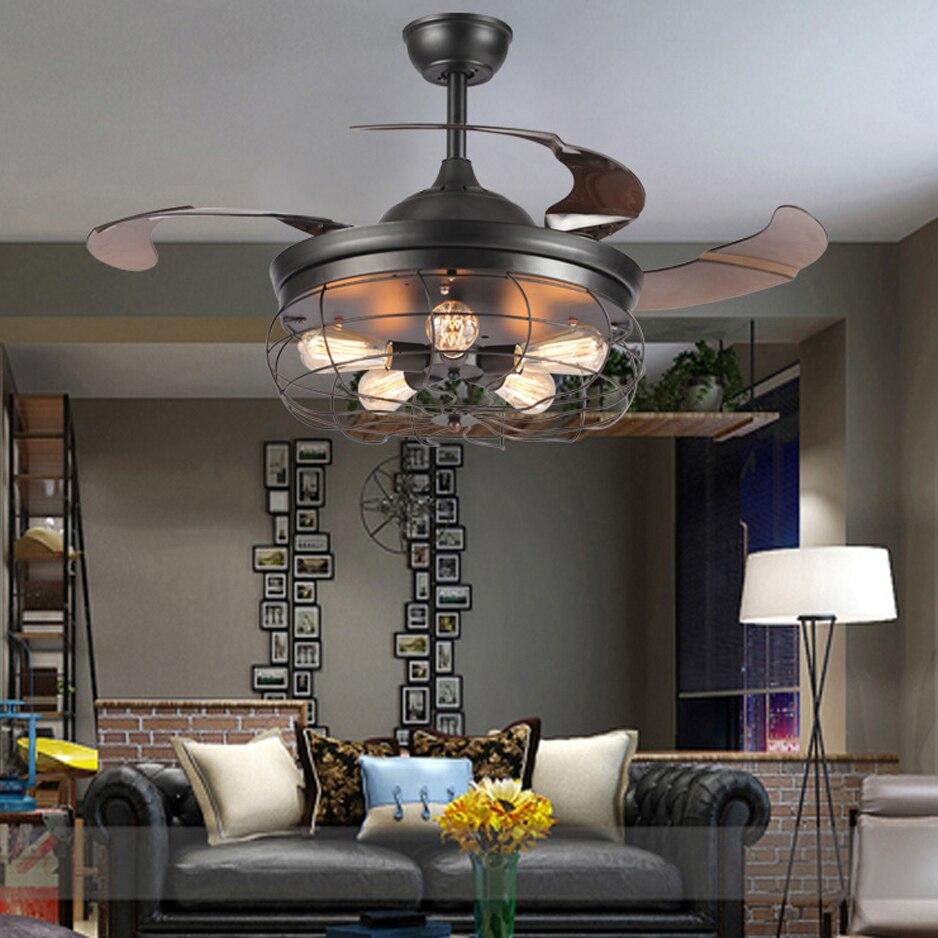 Led e27 Loft En Acier Inoxydable Acrylique Ventilateur De Plafond LED Lampe. lumière LED. plafonniers. plafonnier LED. plafonnier Pour Foyer Magasin