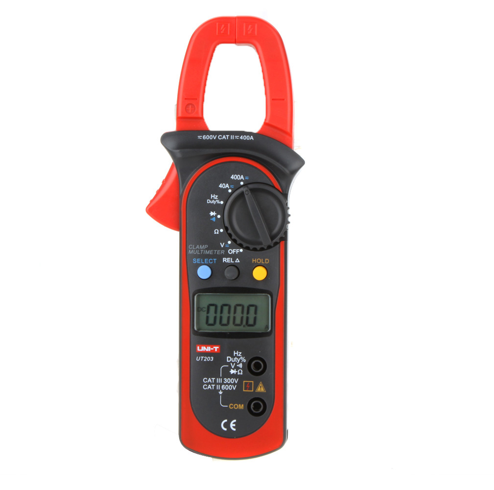 UNI-T UT203 Digital Handheld Clamp Meter Multimeter Tester Meter Ohm DMM AC DC Volt Amp w/Voltage Resistance Frequency Test uni t ut203 4000 counts digital handheld clamp multimeter with auto range dmm dc ac voltage 400a current ohm tester meter