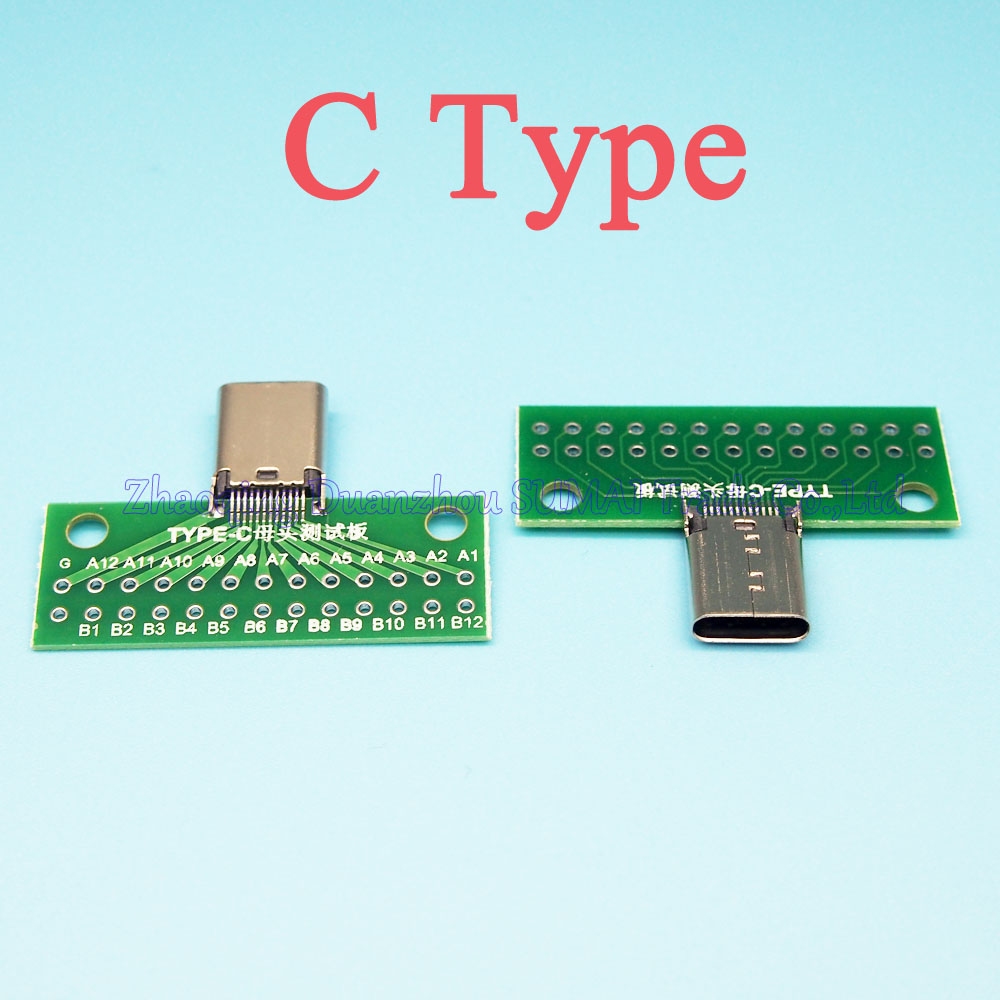 5pcs/lot USB 3.1 TYPE C Connector Female socket 24P Test board with PCB board