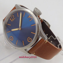 43mm PARNIS Blue Dial Steel Case 17 Jewels movement Hand Winding Mechanical mens Watch