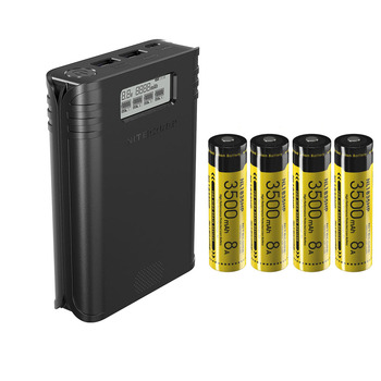 Nowa ładowarka akumulatorów NITECORE F4 z czterema gniazdami elastyczna ładowarka USB do ładowania ekranu LCD z 4 bateriami 18650 3500mAh tanie i dobre opinie Charging battery power source Input DC 5V 2A Input DC 5V 2A RoHS CE FCC