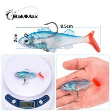 Купить с кэшбэком  BaMMax Fishing lure 14g 8.5cm Soft lures with Hook  Wobblers Artificial Bait Silicone Sea Bass Carp 3D Eyes Lead Fishing Lures