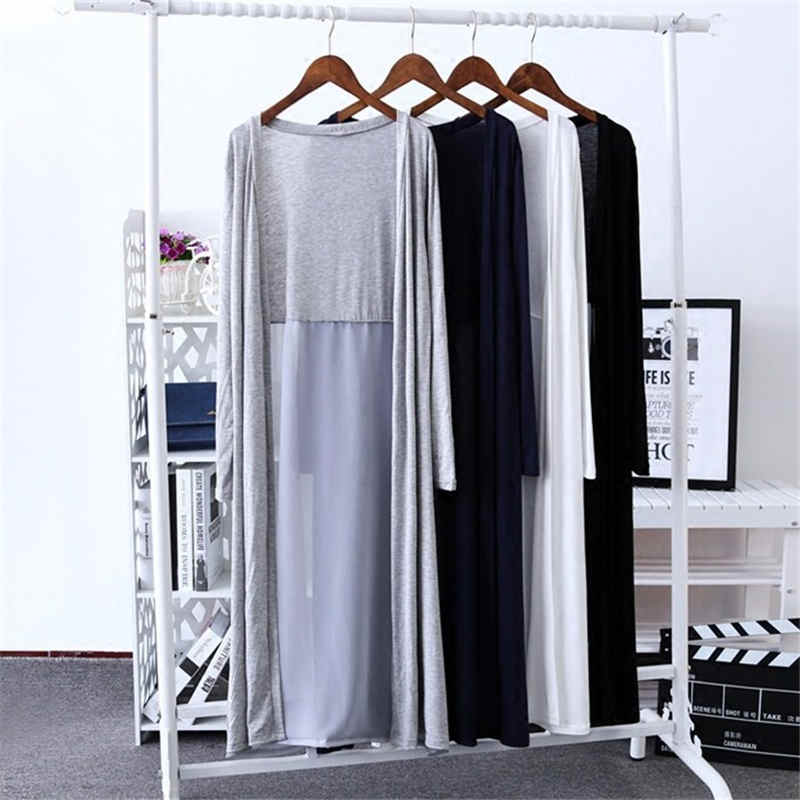 New Women Thin Long Cardigans Summer Autumn Casual Chiffon Patchwork Modal Cardigan Jacket Female Long Sleeve Coat Outwear A1481