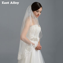 Ivory White Bridal Wedding Veil Fingertip Alencon Lace Veils with Comb