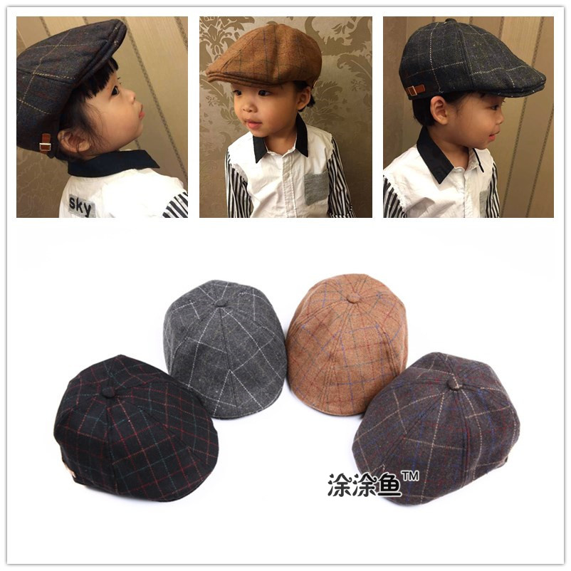 2017 Otoño Invierno Fieltro niños moda Boinas Plaid sombreros para niño y  niña sombrero y Cap mantener caliente gota libre en Sombreros y Gorras de  Mamá y ... 7d8c9e3e78f