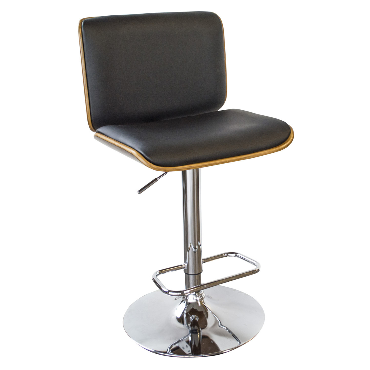 AmeriHome Bent Wood Noir Faux Leather Bar Stool ...