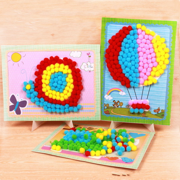 Creative animal diy plush ball handmade pompon baby toys for Art and craft for kids from waste material