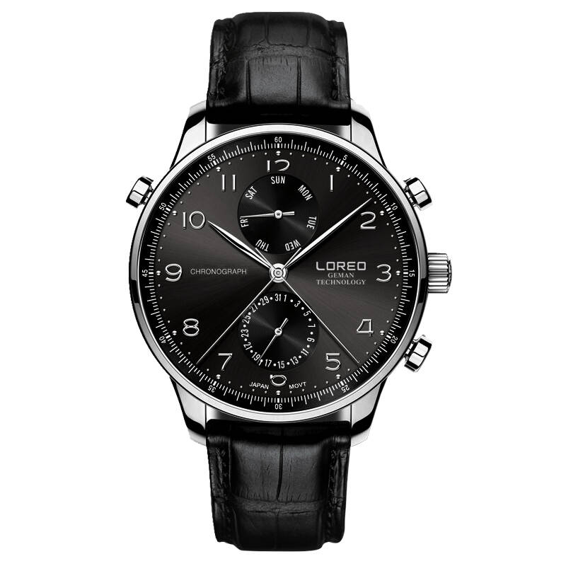 LOREO 6110 Germany watches Portuguese Chronograph 316L Stainless Steel corrosion resistant scratch resistant leather sport watch loreo 6112 germany bauhaus watches newest 316l stainless steel chronograph fashion elegant quartz watch