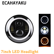ECAHAYAKU 1x 80w 7 Led Headlight Round inch H4 Hi/Low Beam headlights motorcycle car Headlamp for Jeep Wrangler JK off road