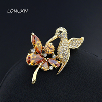 42*30mm cute birds Corsage High quality female jewelry hummingbird Austria yellow flowers Crystal girls Brooch pins lovers gift