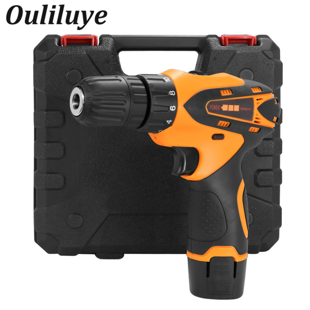 цена на Electric Cordless Drill Drilling Screwdriver Wireless Power Driver Rechargeable Lithium Battery+Plastic Case+26Pcs Drill Bit Set