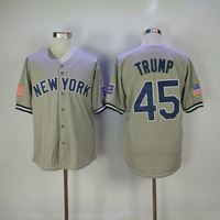 Men S New York Donald Trump Jersey Embroidery Gray White Pinstripe Baseball Jersey