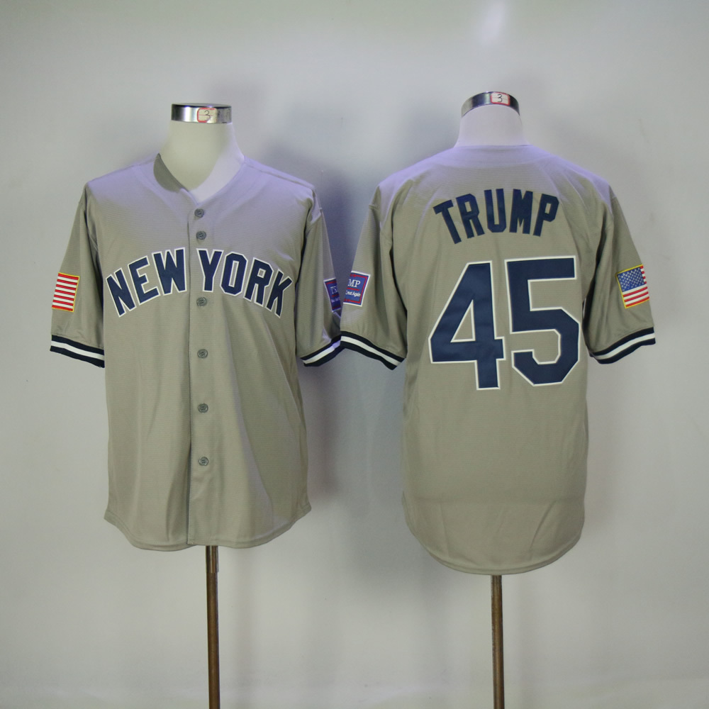 Men S New York Donald Trump Jersey Embroidery Gray White Pinstripe Baseball Jersey