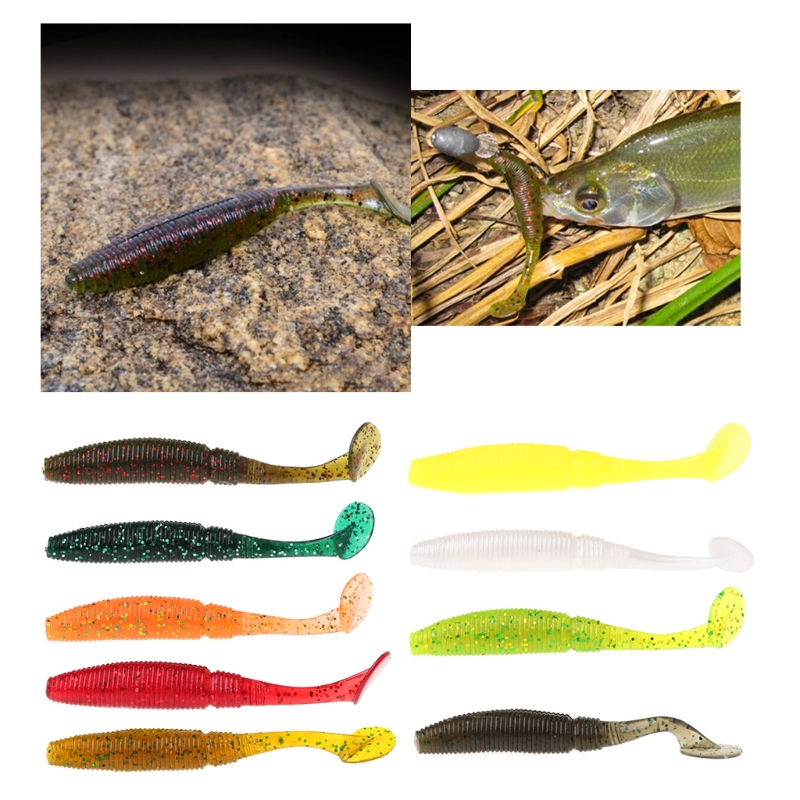 Image 3 - Toply 6pcs T Tail Soft Grub 75mm 3g Fishing Lure Abdomen Paddle Artificial Bass Bait-in Fishing Lures from Sports & Entertainment