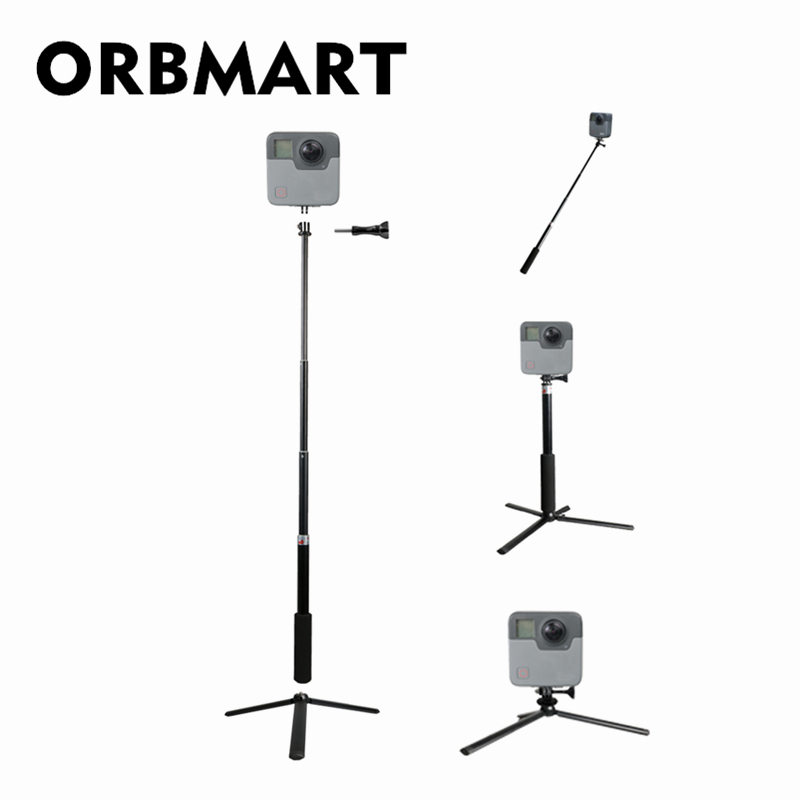 ORBMART Extendable Handheld Selfie Stick Monopod Tripod For Gopro Hero 5 6 Fusion Xiaomi Yi 4K