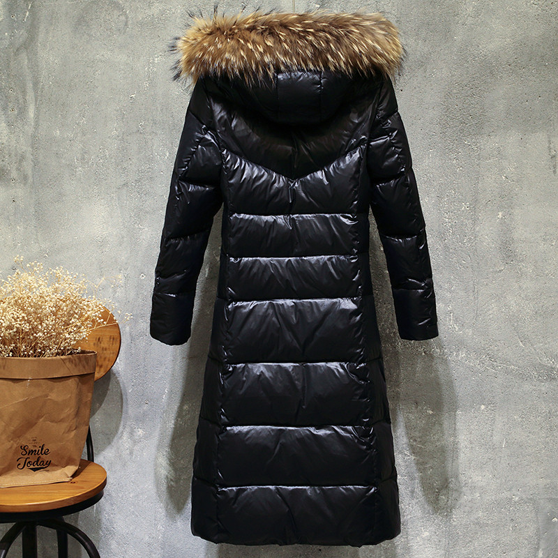 Image 2 - Sanishroly New Winter Women Big Fur Collar Hooded Coat Thicken White Duck Down Jacket Parka Female Long Outerwear Plus Size S412-in Down Coats from Women's Clothing