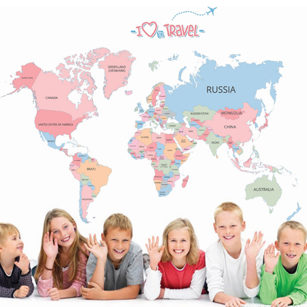 Colorful World Map Wall Decal for kids Room Decoration