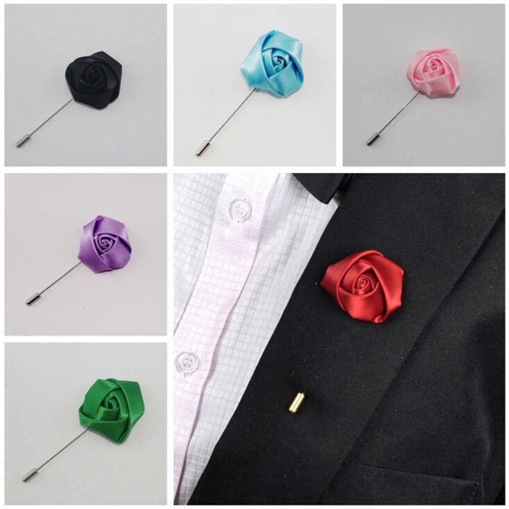 1 Pcs Gaya Baru Terbaik Man Groom Boutonniere Silk Satin Rose pria kancing bunga Pesta Pernikahan Prom Man Gugatan Korsase Pin bros