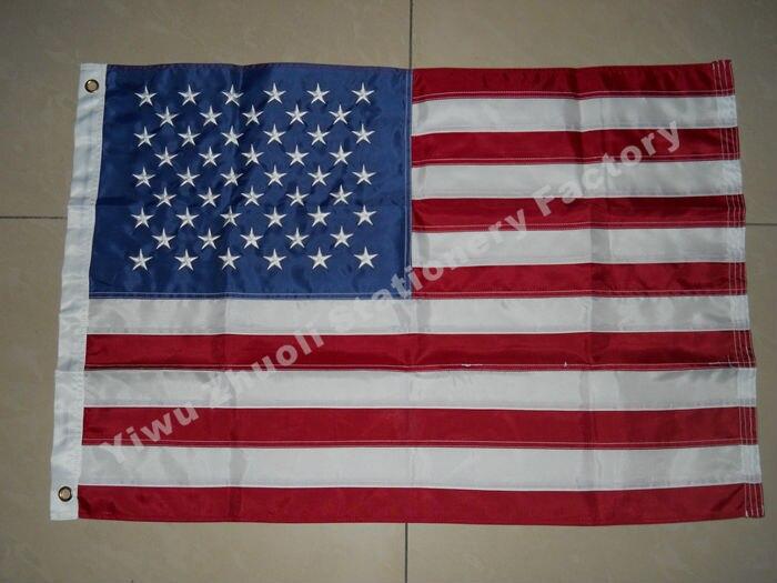 Drapeau de broderie américaine 240X150 cm (8x5FT) 590g haute qualité livraison gratuite rayures cousues Nylon USA US étoiles brodées