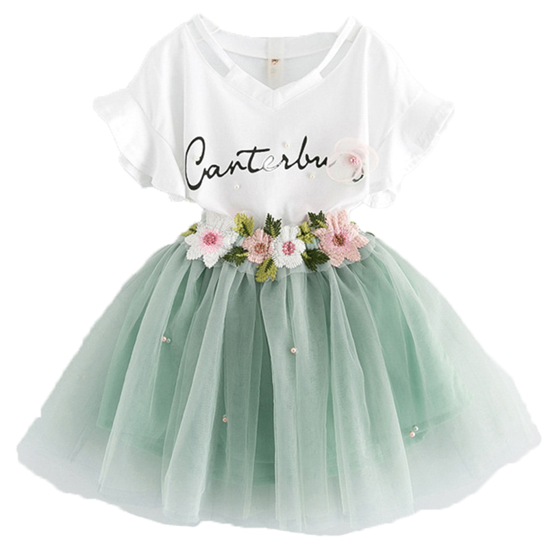 New 2Pcs Baby Girls Flower Clothes Set Kids Unicorn Party T Shirt Top Tutu Skirt Set Girl Cosplay Clothing Summer Vestidos 2-6T