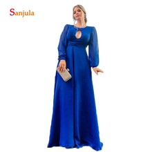 Royal Blue Chiffon A-Line Evening Dresses Scoop Keyhole Front Sexy Party Gowns Long Sleeve Prom D418