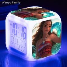 [Wanpy Family] Moana Princess Digital Alarm Clock For Childrens Birthday Gift Bedside Desktop Color Changing