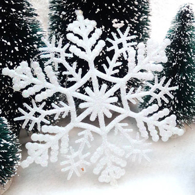 12pcs Snowflakes Christmas Tree Decoration 10cm Plastic Glitter Snow