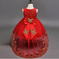 Formal Kids Dresses For Girls Birthday Party Wedding Lace Red Blue Age 2 3 4 5