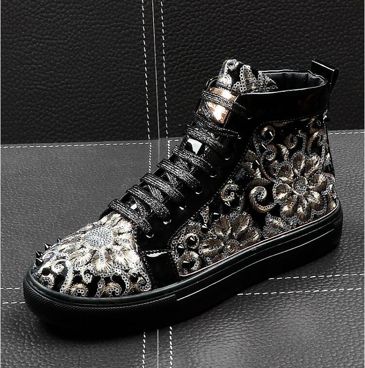 Loisirs Appartements Punk Rock Nationalité Tops Designer Chaussures Noir Haute Homme bleu Paillette Ccasins Hommes Mocassins Italie Rivet Casual Nouvelle AjS5Lqc4R3