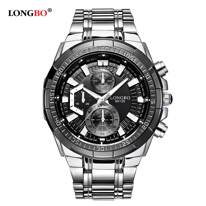 9efcbed6532 LONGBO Military Men Stainless Steel Band Sports Quartz Watches Dial Clock  For Men Male Leisure Watch