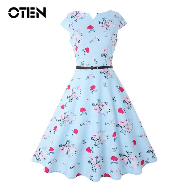 OTEN 2018 Plus Size 4XL Women summer clothes Cap Sleeve Flower Printed A Line Elegant party outfit Ladies dress vestidos 50s 60s