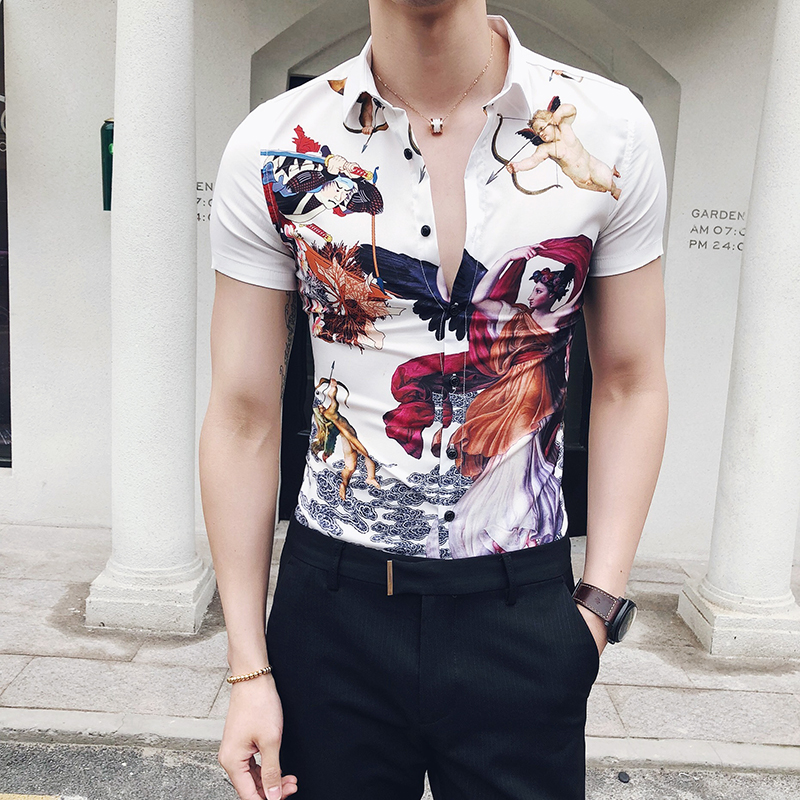 Wind 2018 Summer Brand Personalized Flower And Short Sleeved Shirt Hairstylist Shop Nightclub Men's Shirt C09-P55