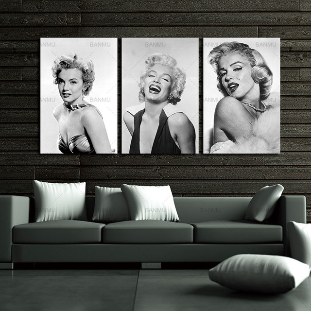 Canvas Painting Wall Art Home Decor Sexy Marilyn Monroe Black U0026 White  Photos Printed Pictures For