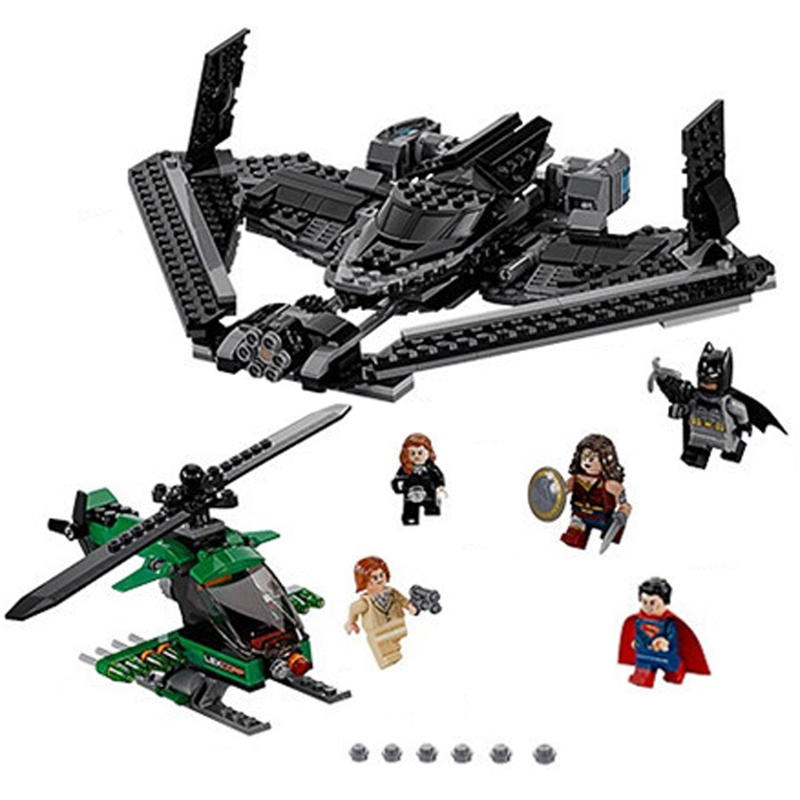 Batman Chariot Super Heroes of Justice Sky High Battle Superman Building Blocks Marvel Model Toys Compatible Legoe