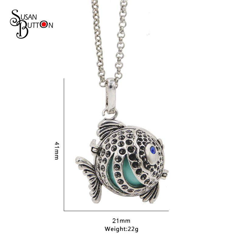 Silver Fish Cage Locket Pendant Necklace Harmony Chime Ball Necklace Mexican Bola Cage Music Prenatal Necklace Jewelry