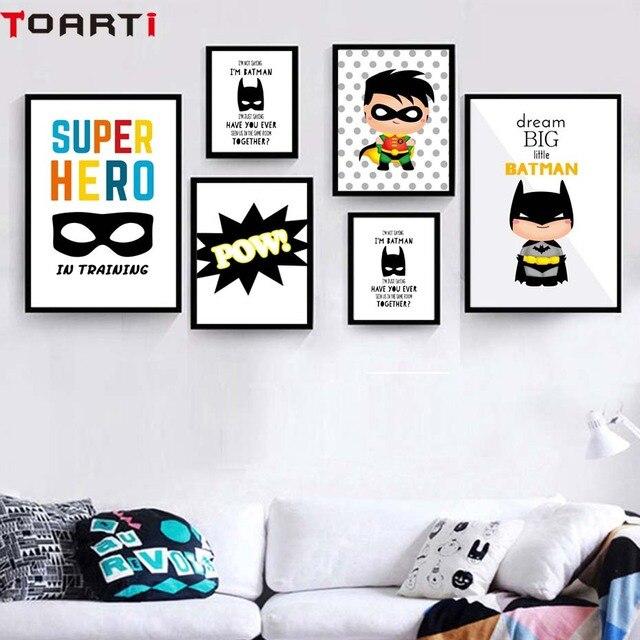 Superhero Pow Kids Room Decor Dream Big Wall Art Poster&Prints Modern Canvas Painting Modular Wall Picture For Nursery Bedroom
