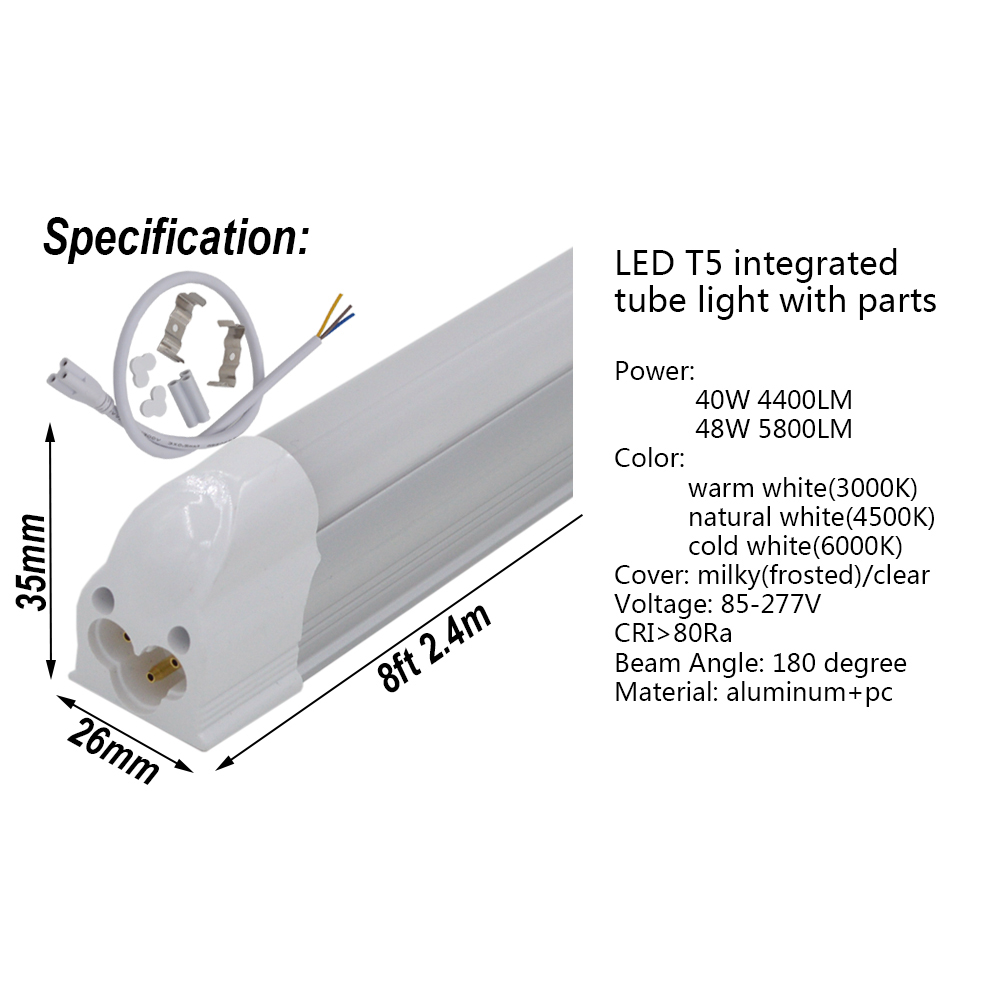 2-50/pack LED Tube Light 8ft 2 4m 40W 48W T5 Integrated Bulb with fittings  8 feet Fluorescent Fixture Slim Lamp Linear Lighting