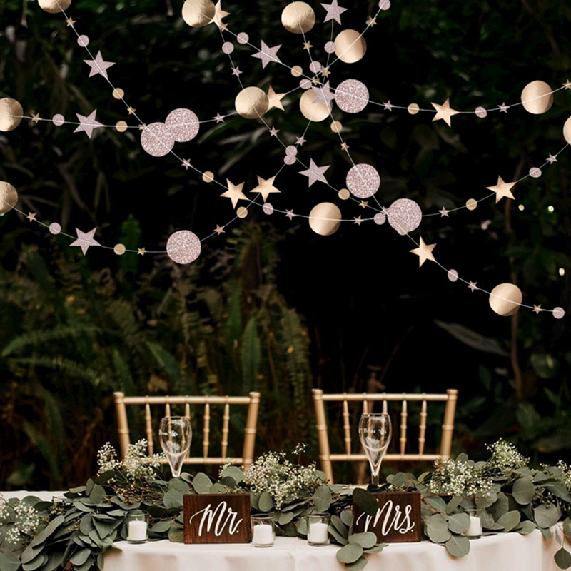 Image 2 - 4M Paper Garland Star Circle String Banners Wedding Banner Birthday Party Home Decoration Baby Shower Favors Party Bunting Flags-in Banners, Streamers & Confetti from Home & Garden