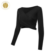 V-neck Long Sleeve Wrap Crop Top – Women's Yoga Dance Run Train Workout Gym Sexy Slim Fit Tight Long Cropped Shirt T-shirt