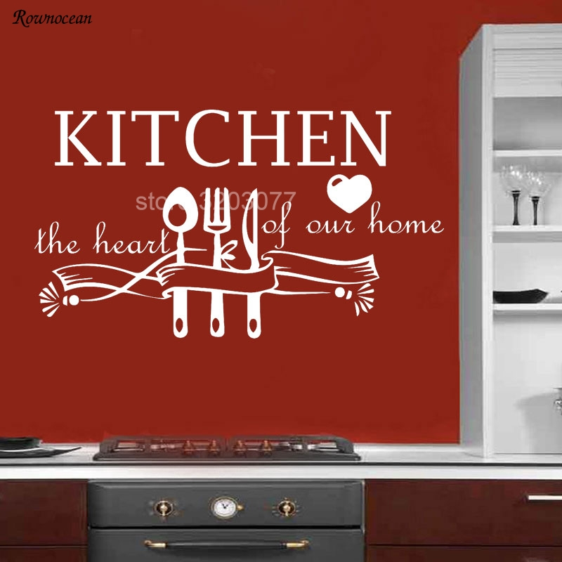Art Wall Decals Quote Kitchen The Heart Of Our Dining Room Home Vinyl Sticker Removable Decoration Mural Tableware Wallpaper K12