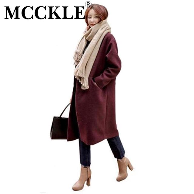 Mcckle estilo coreano de alta calidad de las mujeres largas mezclas otoño invierno elegante de lana caliente abrigos chaqueta casual de las señoras abrigo casacos