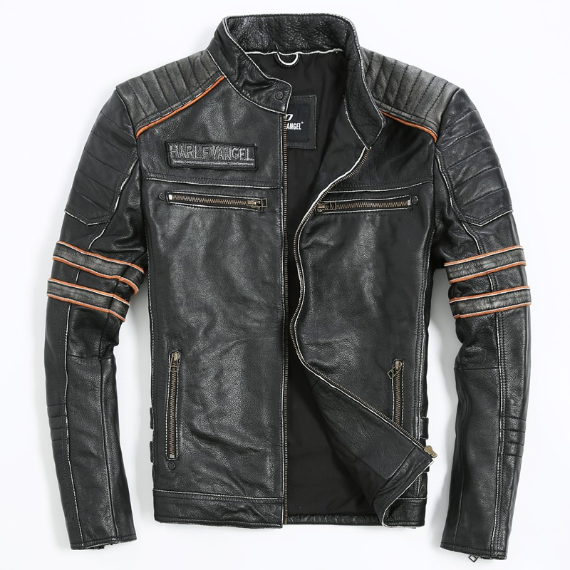2017 Embroidery Skull Motorcycle Clothing Men's Leather Jacket Genuine Leather Jackets Real Cow Leather