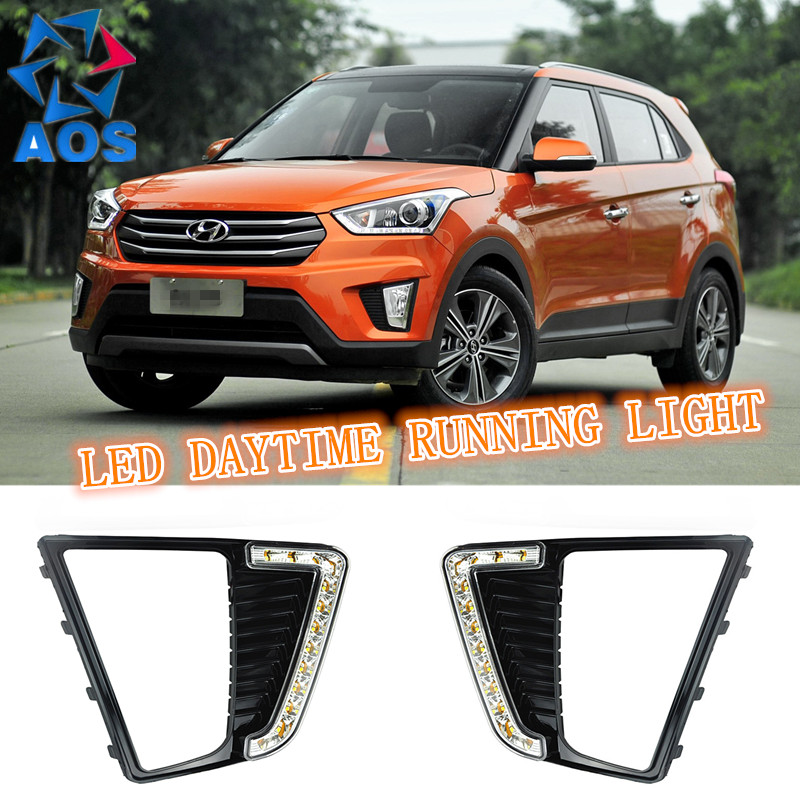 2PCs/set car LED DRL 12V daylight fog lamp Daytime Running Lights for Hyundai IX25 2014 2015 with Turn Signal lamp Function
