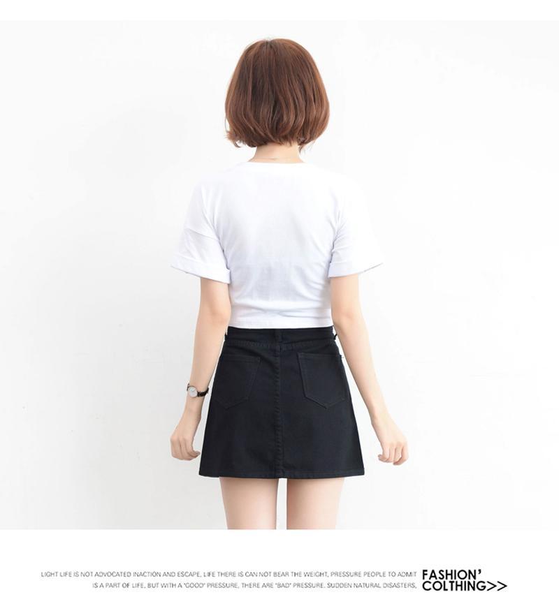 Lucyever Fashion Korean Summer Women Denim Skirt High Waist Black Mini Skirts Package Hip Blue Jeans Harajuku Plus Size Cotton 29