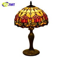FUMAT American Pastoral Dragonfly Creative Retro Tiffany Stained Glass Living Room Dining Room Bedroom Bedside Rose Table Lamp